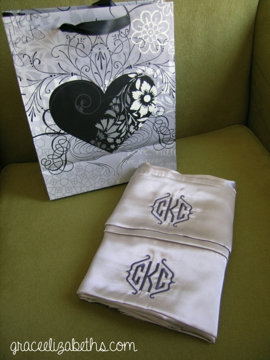 Embroidered Wedding Pillowcases by www.GraceElizabeths.com