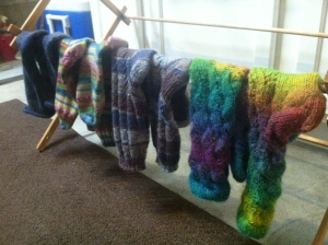 Wool socks hanging to dry