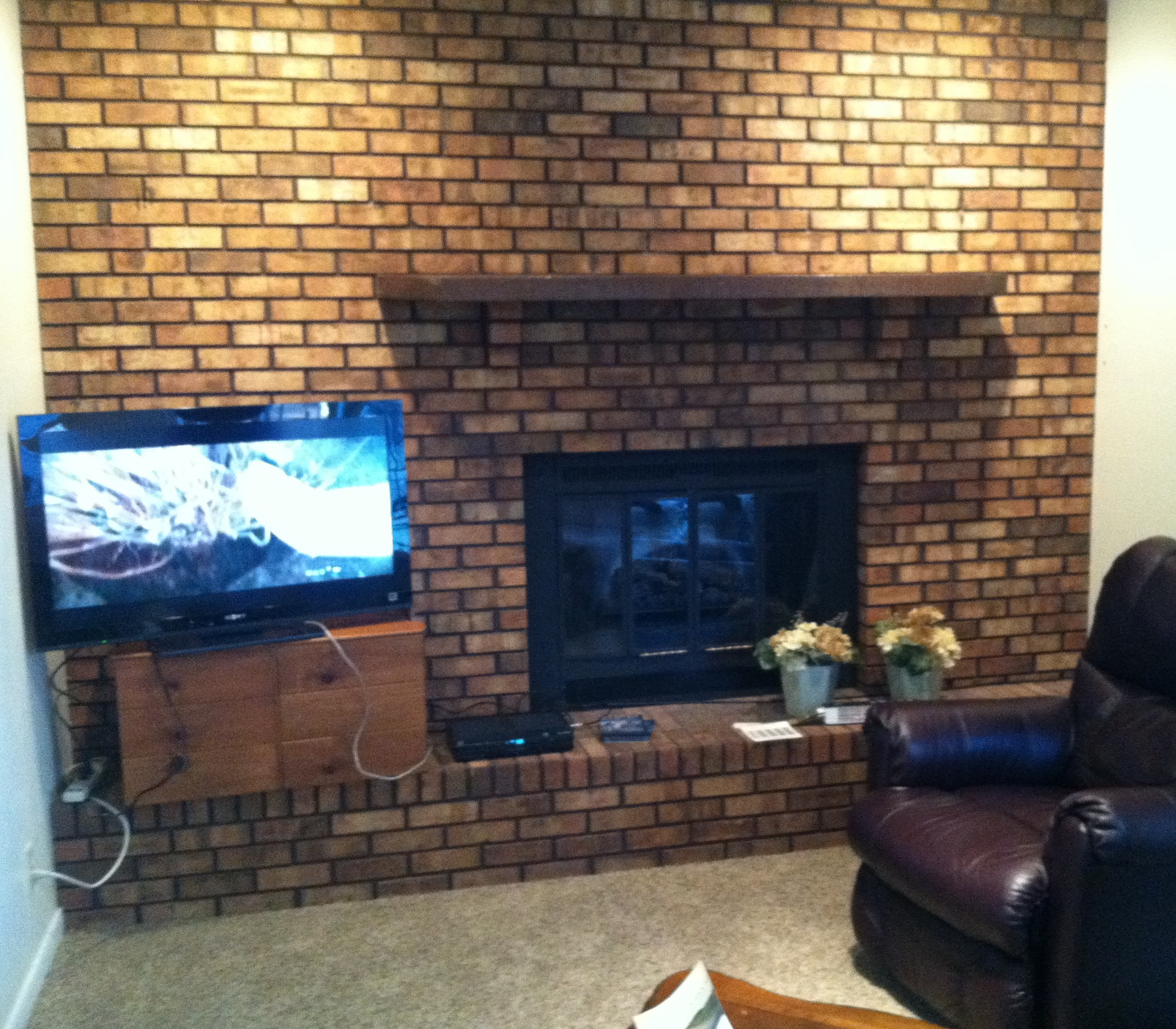 Alf Img Showing Whitewash Brick Fireplace Diy