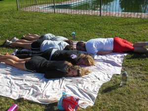 "Team picnic turned nap time during our ""Sabbath"""
