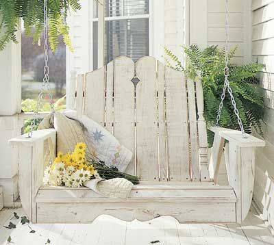 Rustic porch swing
