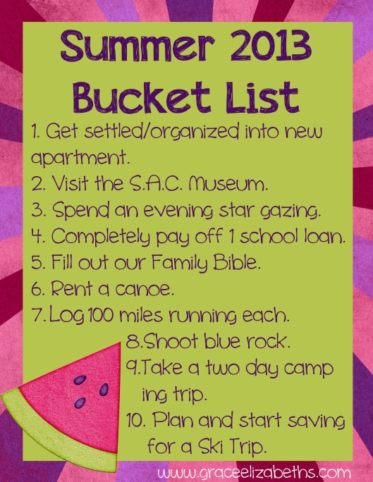 summer 2013 bucket list