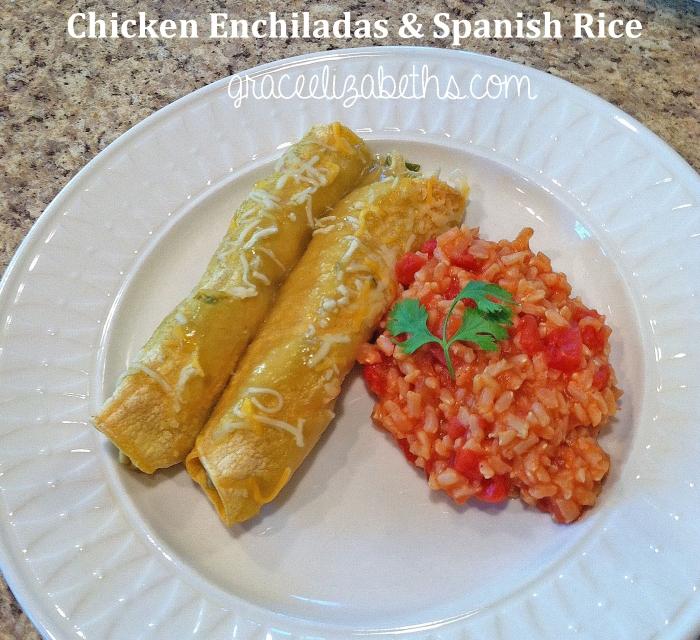Chicken Enchiladas & Spanish Rice