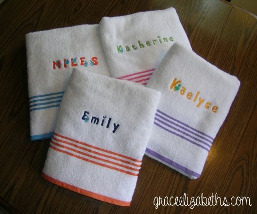 Embroidered wash cloths by www.GraceElizabeths.com
