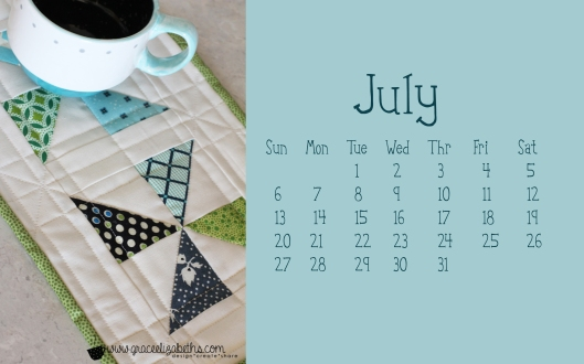 July Calendar by www.graceelizabeths.com